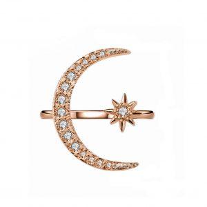 انگشتر زنانه طرح ماه و ستاره کوپر رزگلد