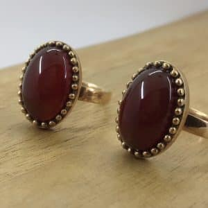 انگشتر زنانه طلاروس عقیق قرمز